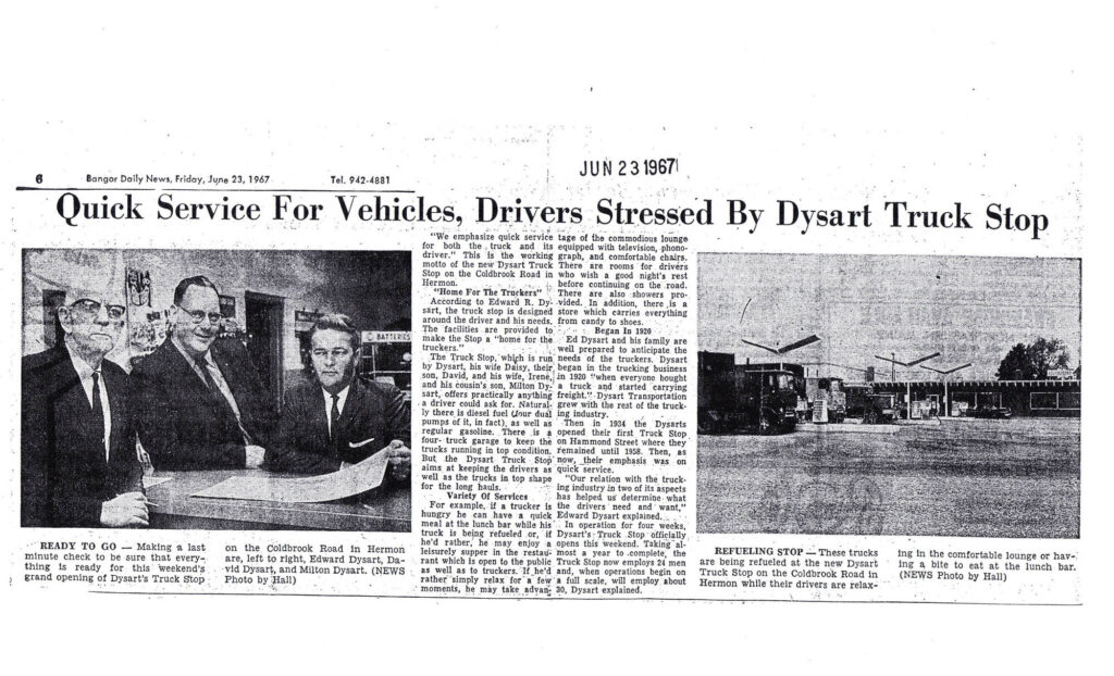 photo of newspaper article about Dysart's from jun 23 1967