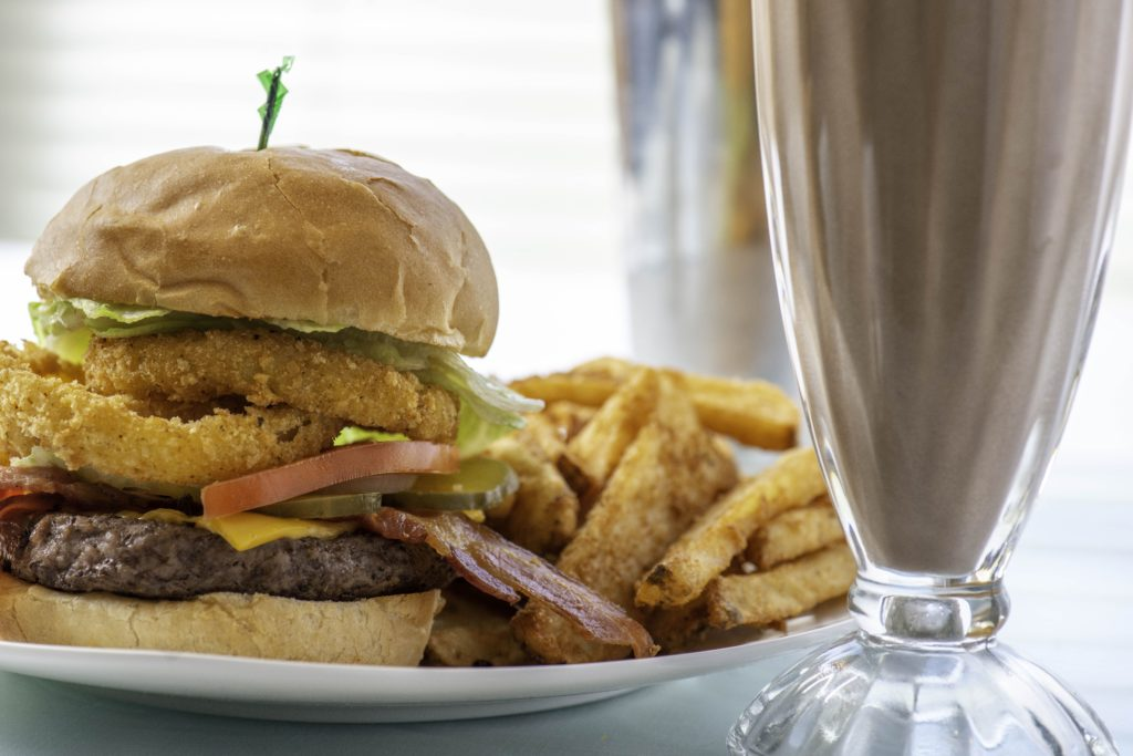 photo of dysart's burger meal with fries and milkshake